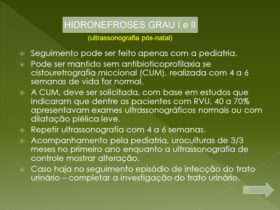HIDRONEFROSES GRAU I e II