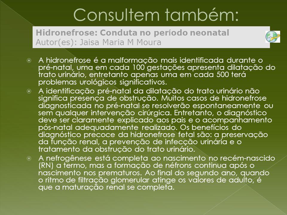 Consultem também: Hidronefrose: Conduta no período neonatal Autor(es): Jaisa Maria M Moura.