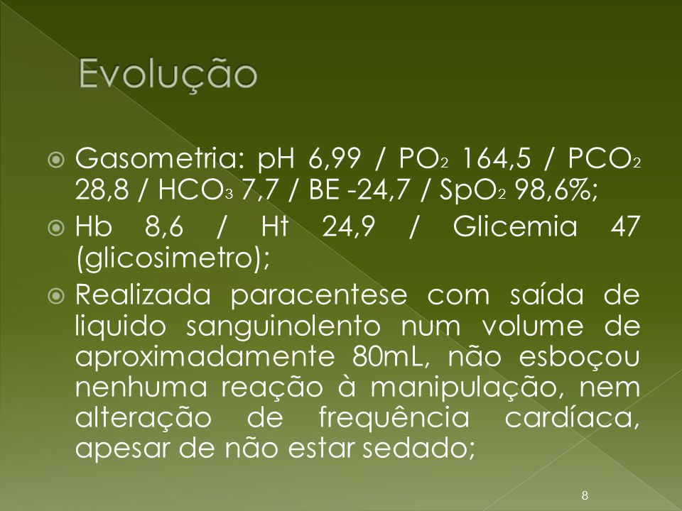 Evolução Gasometria: pH 6,99 / PO2 164,5 / PCO2 28,8 / HCO3 7,7 / BE -24,7 / SpO2 98,6%; Hb 8,6 / Ht 24,9 / Glicemia 47 (glicosimetro);