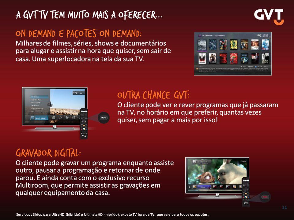 Serviços válidos para UltraHD (híbrido) e UltimateHD (híbrido), exceto TV fora da TV, que vale para todos os pacotes.