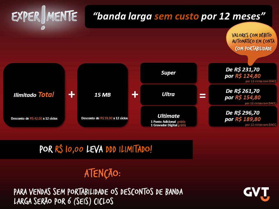+ + = banda larga sem custo por 12 meses De R$ 231,70 Super