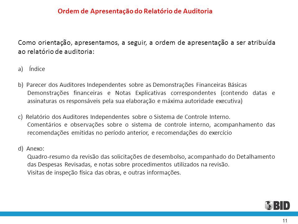 Ordem de Apresentação do Relatório de Auditoria