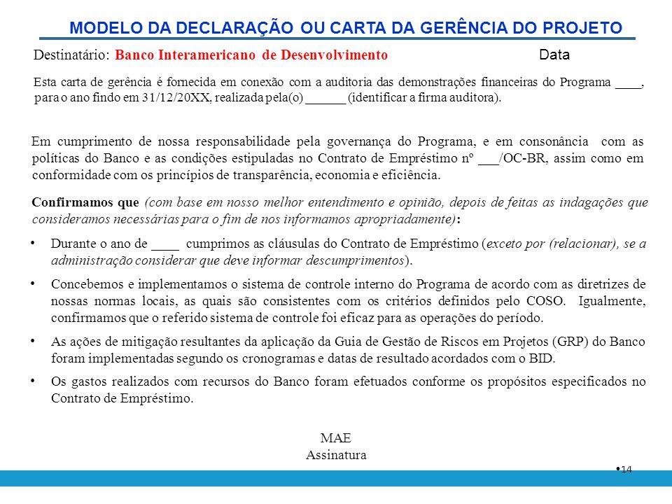 MODELO DA DECLARAÇÃO OU CARTA DA GERÊNCIA DO PROJETO