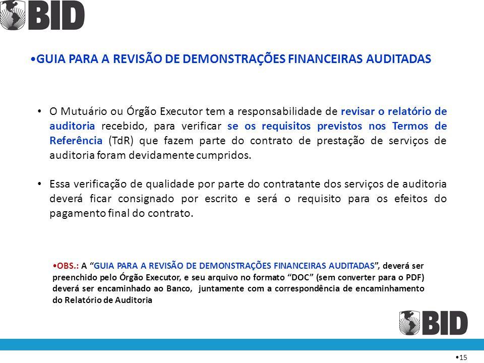 GUIA PARA A REVISÃO DE DEMONSTRAÇÕES FINANCEIRAS AUDITADAS