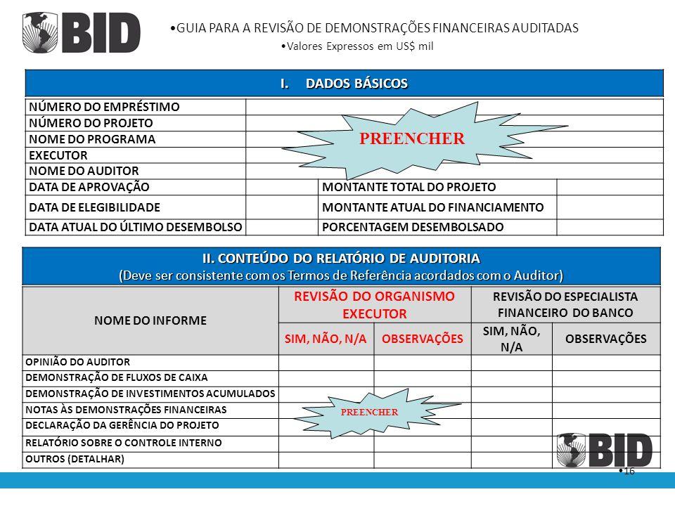 PREENCHER DADOS BÁSICOS II. CONTEÚDO DO RELATÓRIO DE AUDITORIA