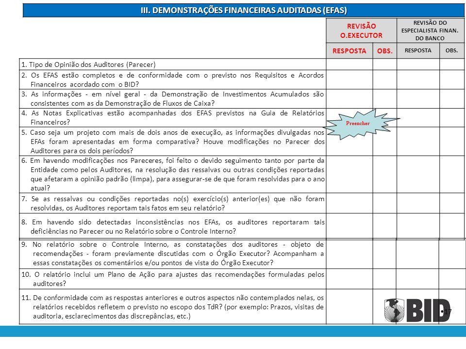 III. DEMONSTRAÇÕES FINANCEIRAS AUDITADAS (EFAS)
