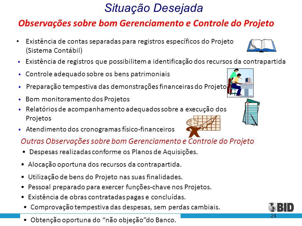 Observações sobre bom Gerenciamento e Controle do Projeto