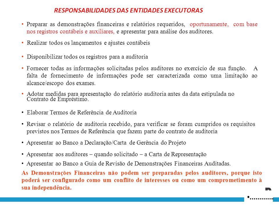 ............ RESPONSABILIDADES DAS ENTIDADES EXECUTORAS