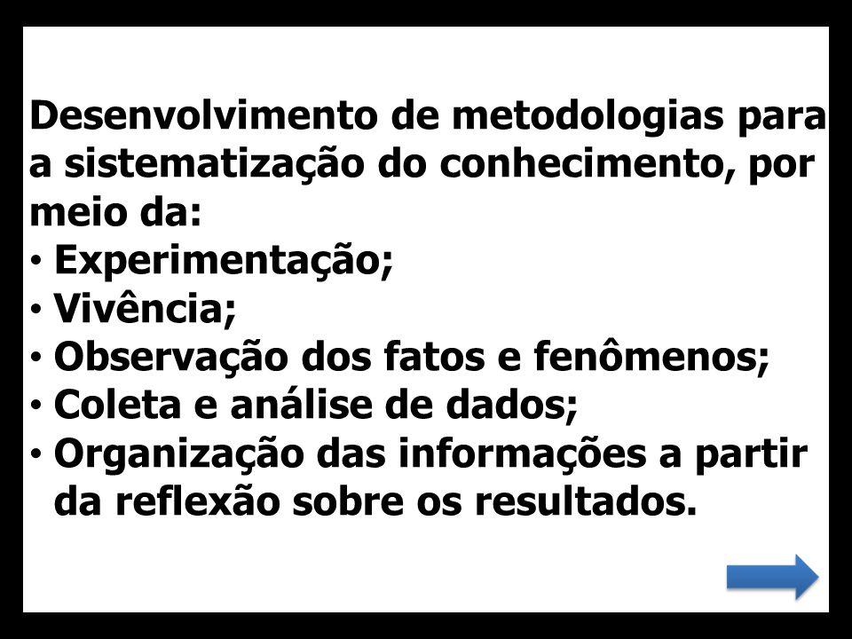 Desenvolvimento de metodologias para a sistematização do conhecimento, por meio da: