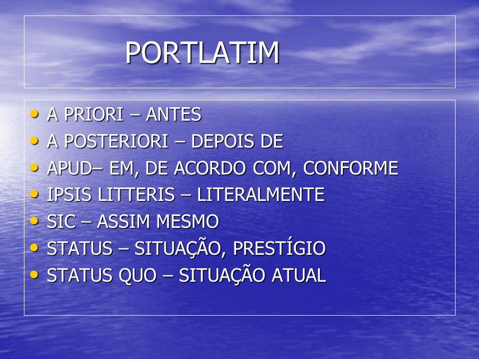 PORTLATIM A PRIORI – ANTES A POSTERIORI – DEPOIS DE
