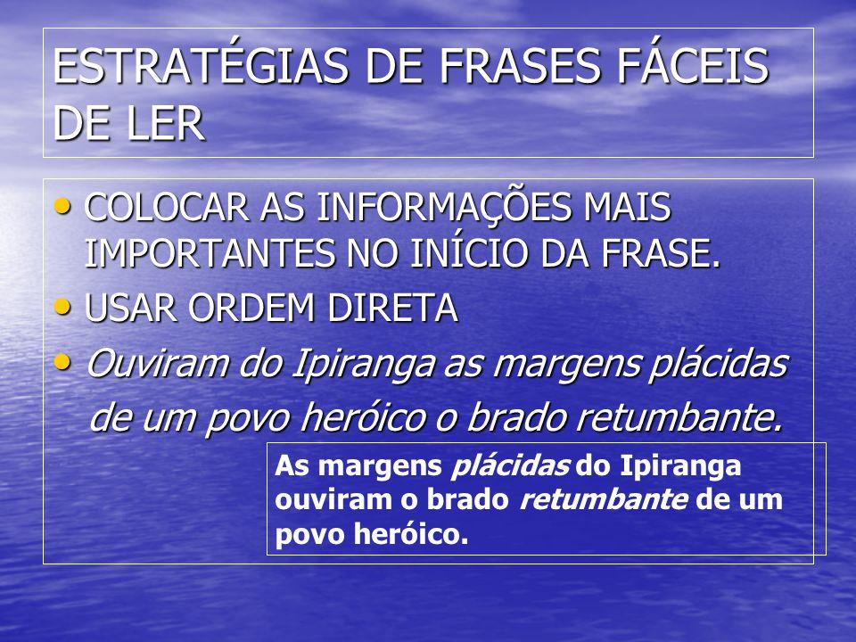 ESTRATÉGIAS DE FRASES FÁCEIS DE LER