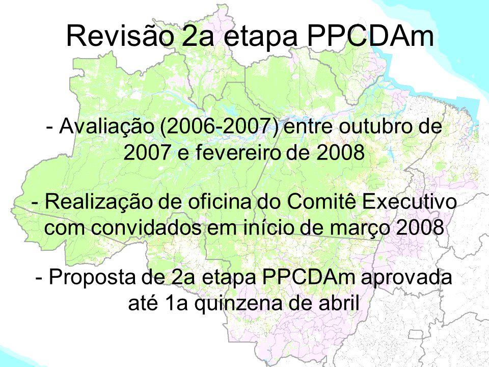 Revisão 2a etapa PPCDAm - Avaliação (2006-2007) entre outubro de 2007 e fevereiro de 2008.