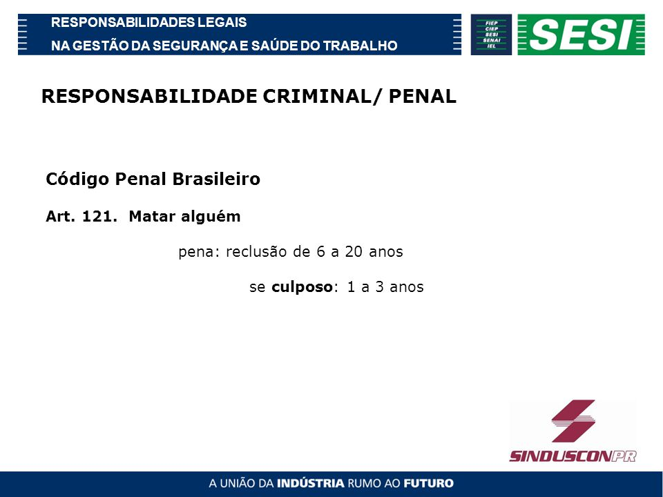 RESPONSABILIDADE CRIMINAL/ PENAL