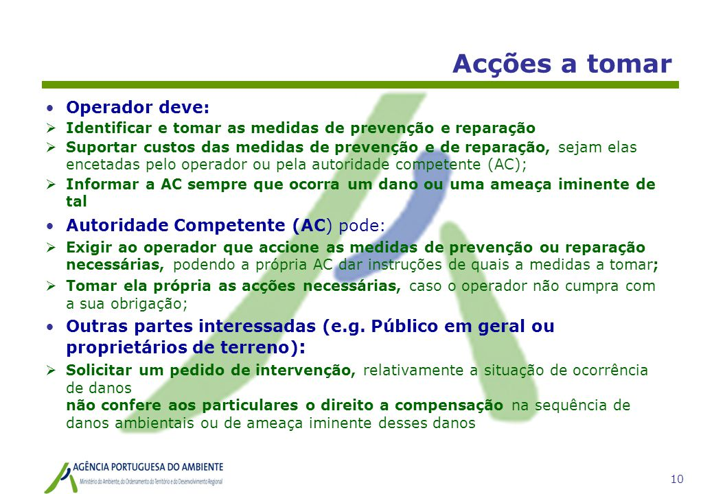 Acções a tomar Operador deve: Autoridade Competente (AC) pode: