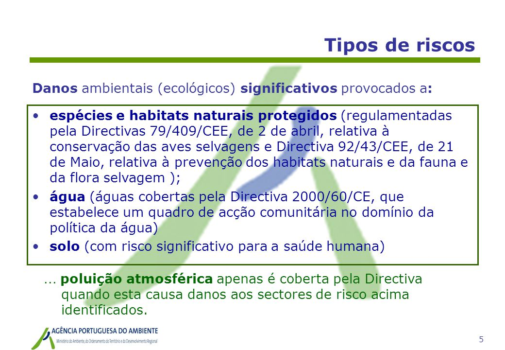 Tipos de riscos Danos ambientais (ecológicos) significativos provocados a: