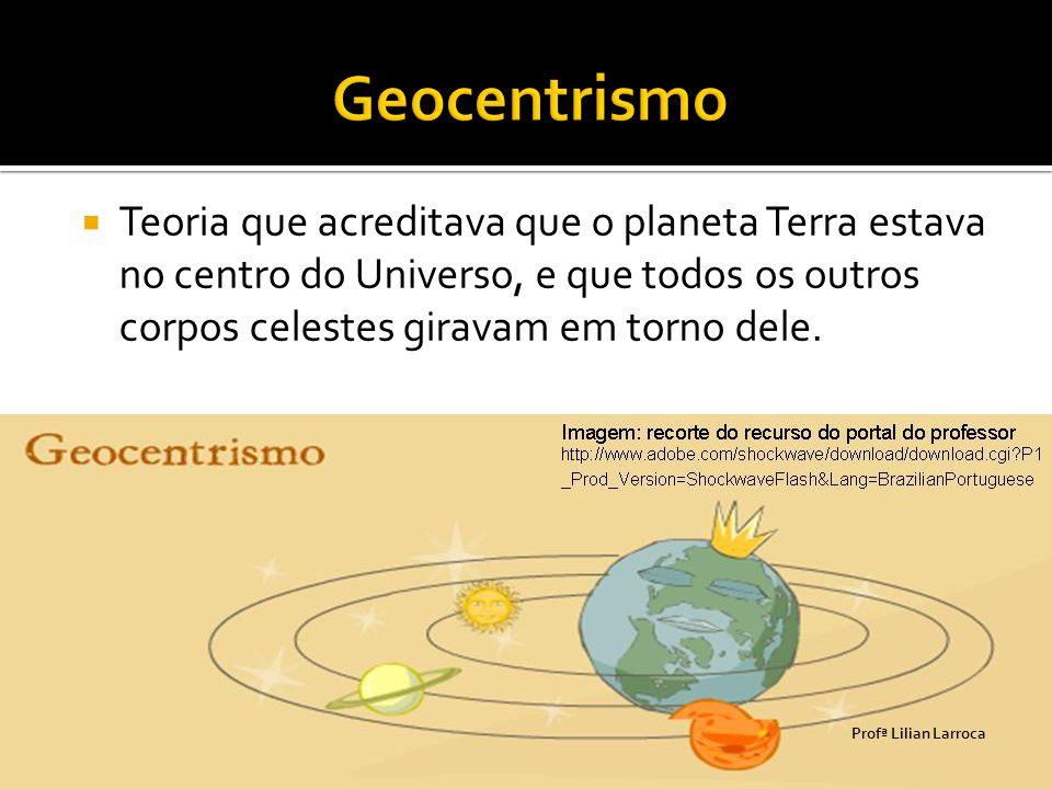 Geocentrismo Teoria que acreditava que o planeta Terra estava no centro do Universo, e que todos os outros corpos celestes giravam em torno dele.