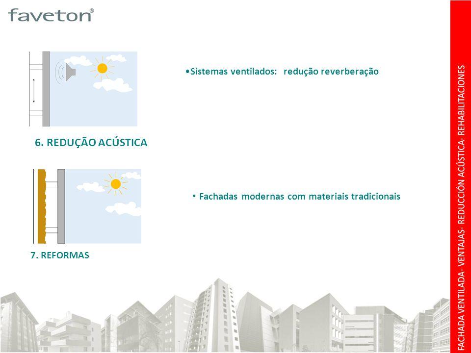 6. REDUÇÃO ACÚSTICA Sistemas ventilados: redução reverberação