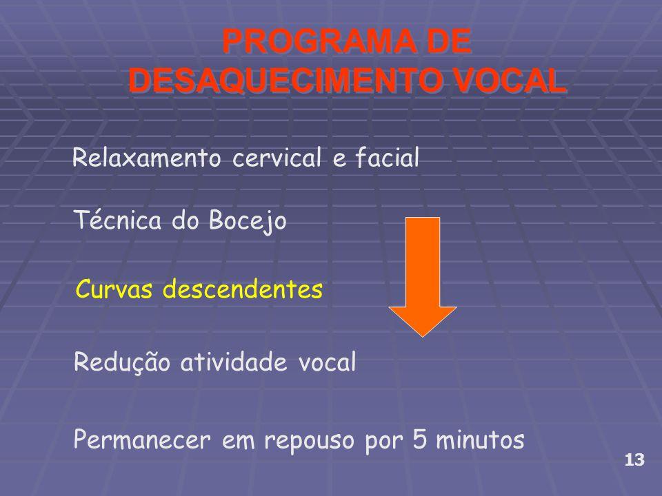 PROGRAMA DE DESAQUECIMENTO VOCAL