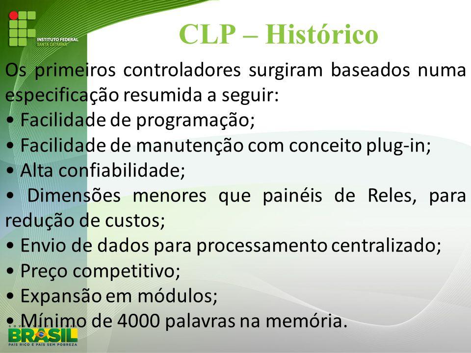 CLP – Histórico Os primeiros controladores surgiram baseados numa especificação resumida a seguir: • Facilidade de programação;
