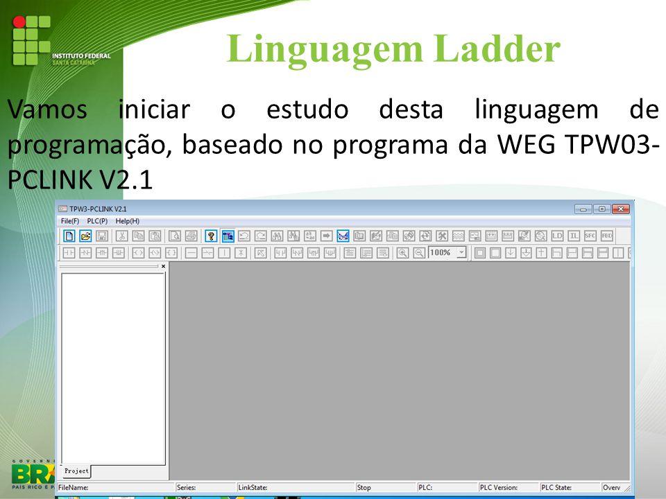 Linguagem Ladder Vamos iniciar o estudo desta linguagem de programação, baseado no programa da WEG TPW03-PCLINK V2.1.