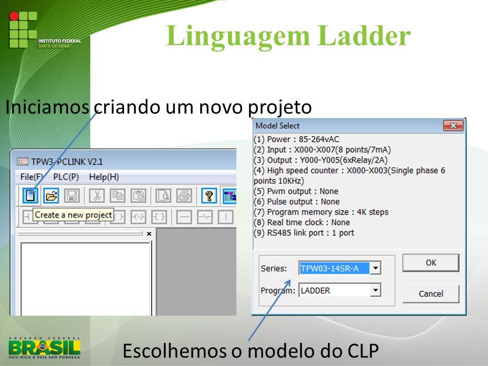 Linguagem Ladder Iniciamos criando um novo projeto
