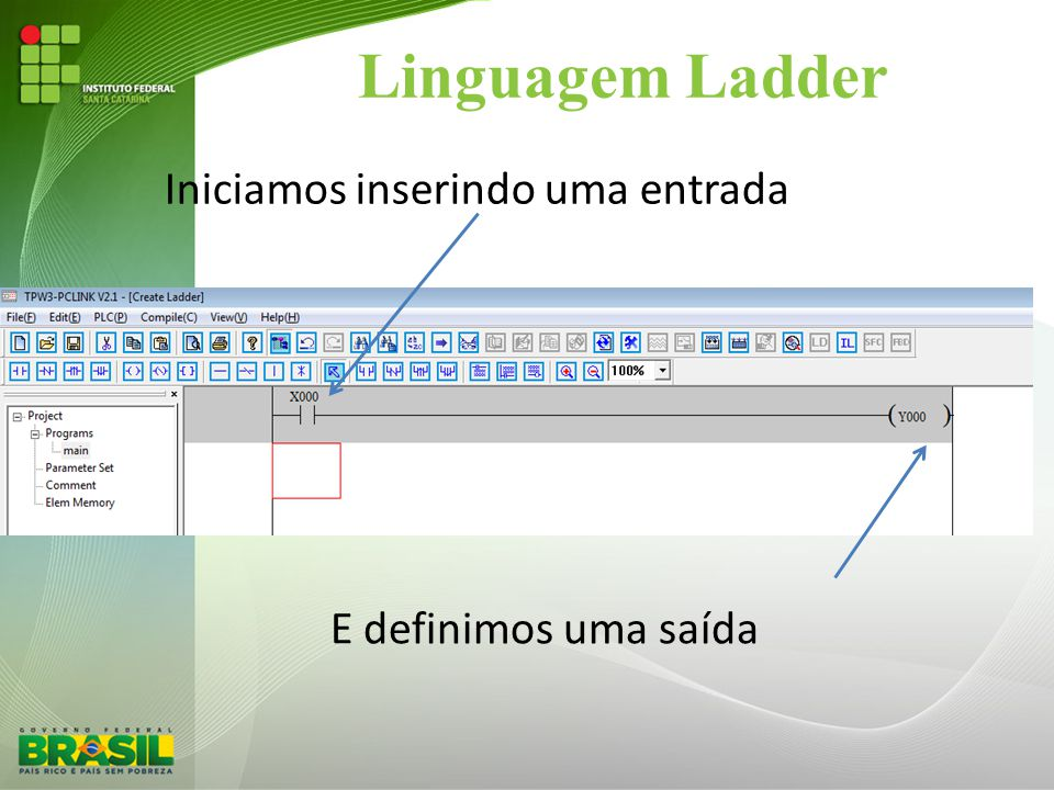 Linguagem Ladder Iniciamos inserindo uma entrada E definimos uma saída