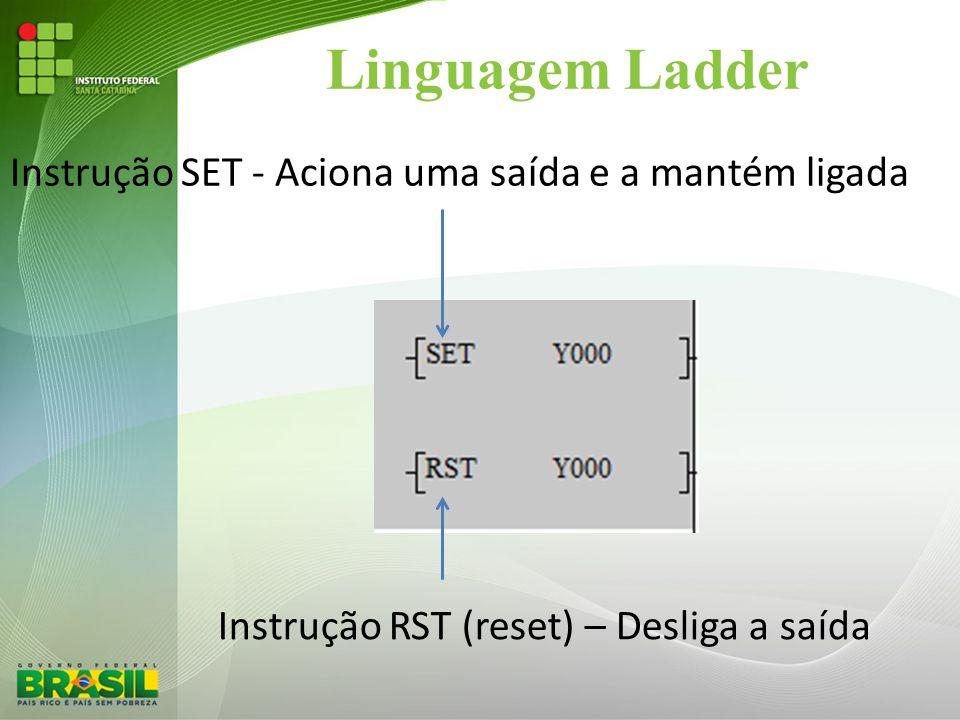Linguagem Ladder Instrução SET - Aciona uma saída e a mantém ligada