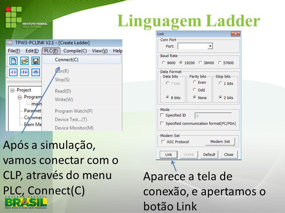 Linguagem Ladder Após a simulação, vamos conectar com o CLP, através do menu PLC, Connect(C) Aparece a tela de conexão, e apertamos o botão Link.