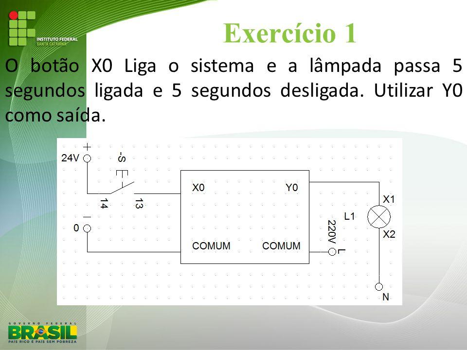 Exercício 1 O botão X0 Liga o sistema e a lâmpada passa 5 segundos ligada e 5 segundos desligada.