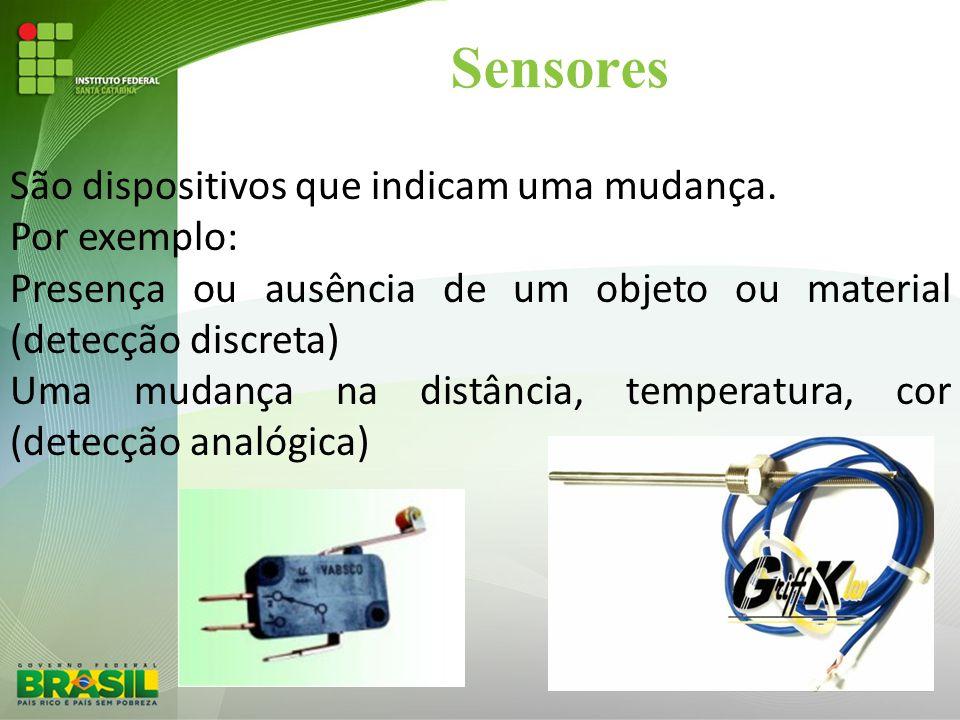 Sensores São dispositivos que indicam uma mudança. Por exemplo: