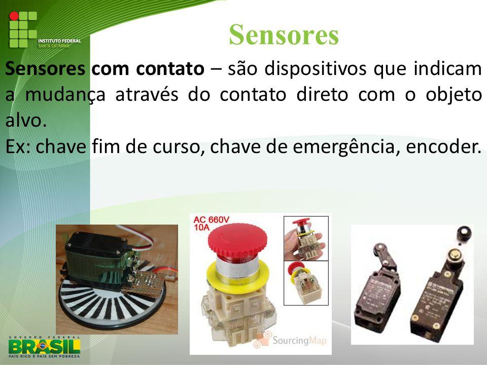 Sensores Sensores com contato – são dispositivos que indicam a mudança através do contato direto com o objeto alvo.