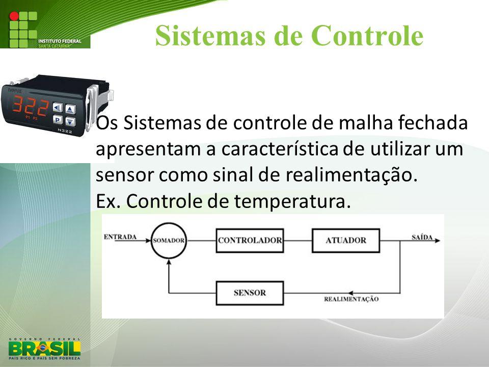 Sistemas de Controle Os Sistemas de controle de malha fechada apresentam a característica de utilizar um.