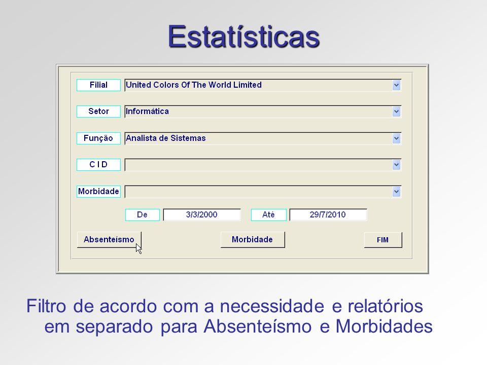 Estatísticas Filtro de acordo com a necessidade e relatórios em separado para Absenteísmo e Morbidades.