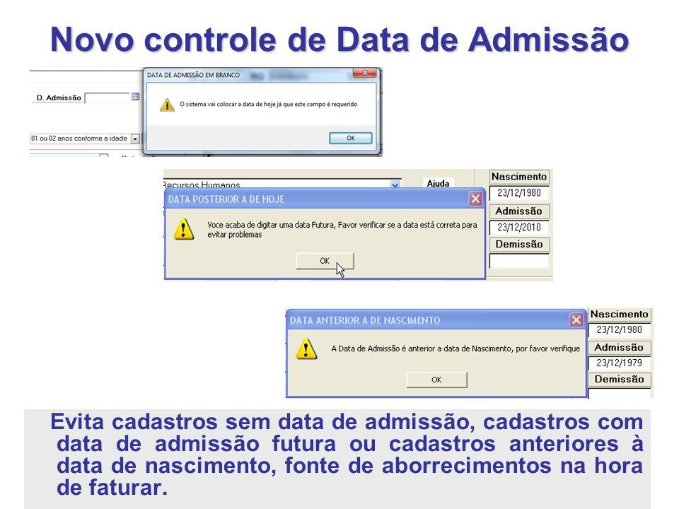 Novo controle de Data de Admissão