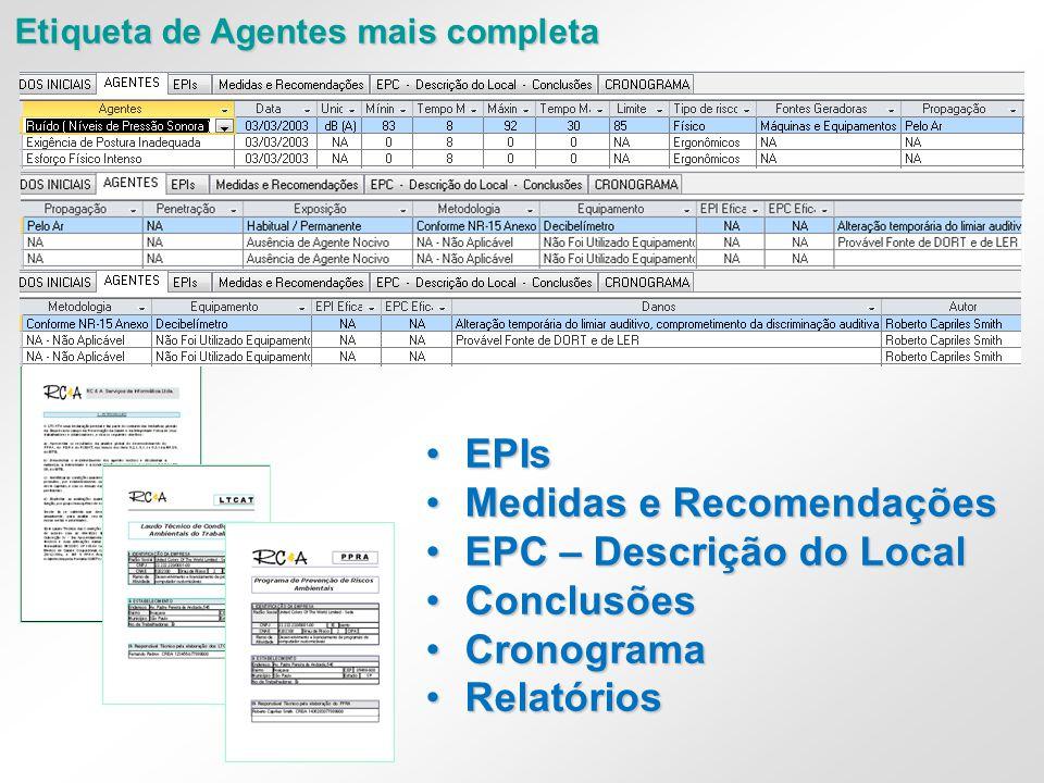 Medidas e Recomendações EPC – Descrição do Local Conclusões Cronograma