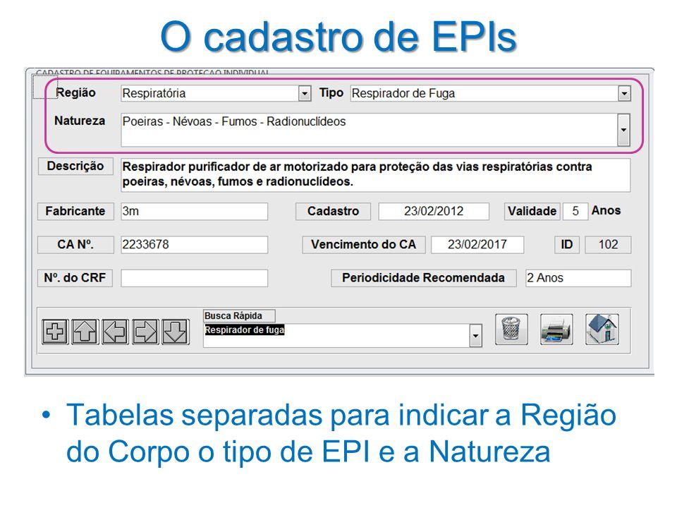 O cadastro de EPIs Tabelas separadas para indicar a Região do Corpo o tipo de EPI e a Natureza
