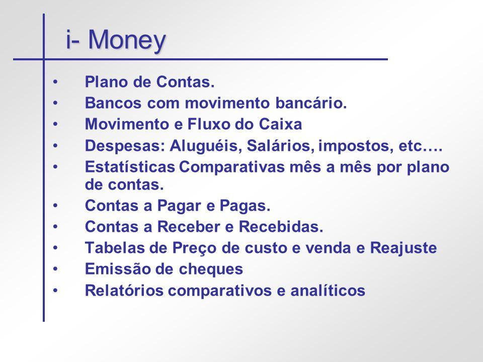 i- Money Plano de Contas. Bancos com movimento bancário.