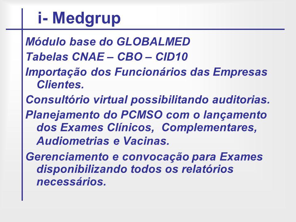 i- Medgrup Módulo base do GLOBALMED Tabelas CNAE – CBO – CID10