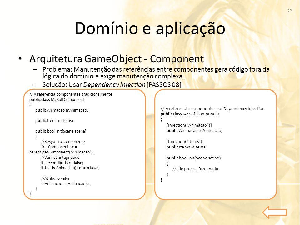 Domínio e aplicação Arquitetura GameObject - Component