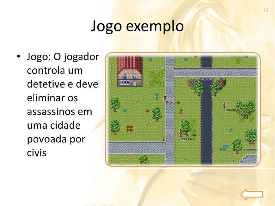 Jogo exemplo Jogo: O jogador controla um detetive e deve eliminar os assassinos em uma cidade povoada por civis.