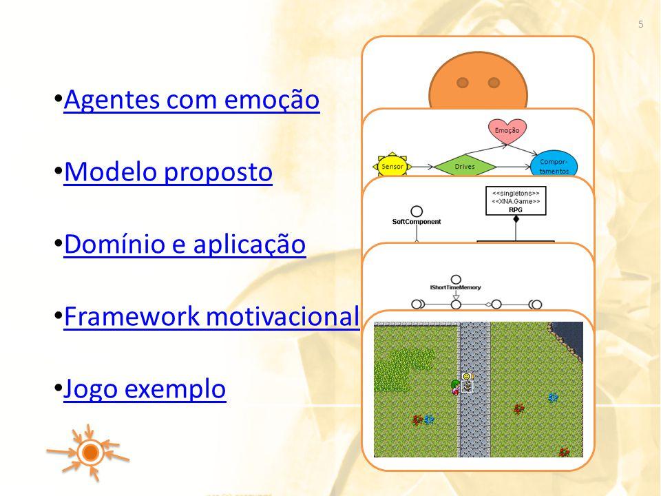 Agentes com emoção Modelo proposto Domínio e aplicação Framework motivacional Jogo exemplo