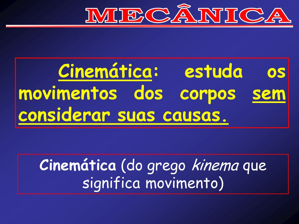 Cinemática (do grego kinema que significa movimento)