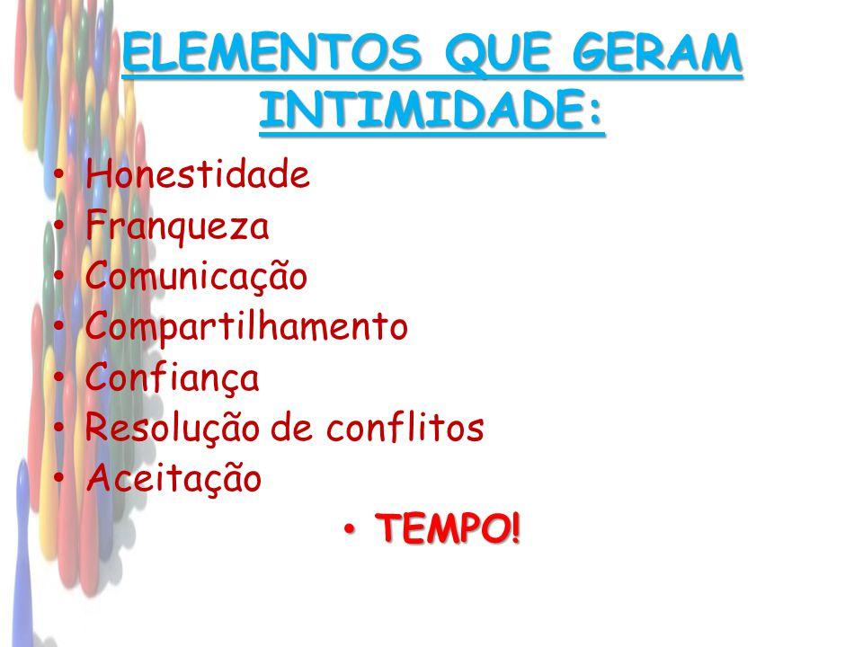 ELEMENTOS QUE GERAM INTIMIDADE: