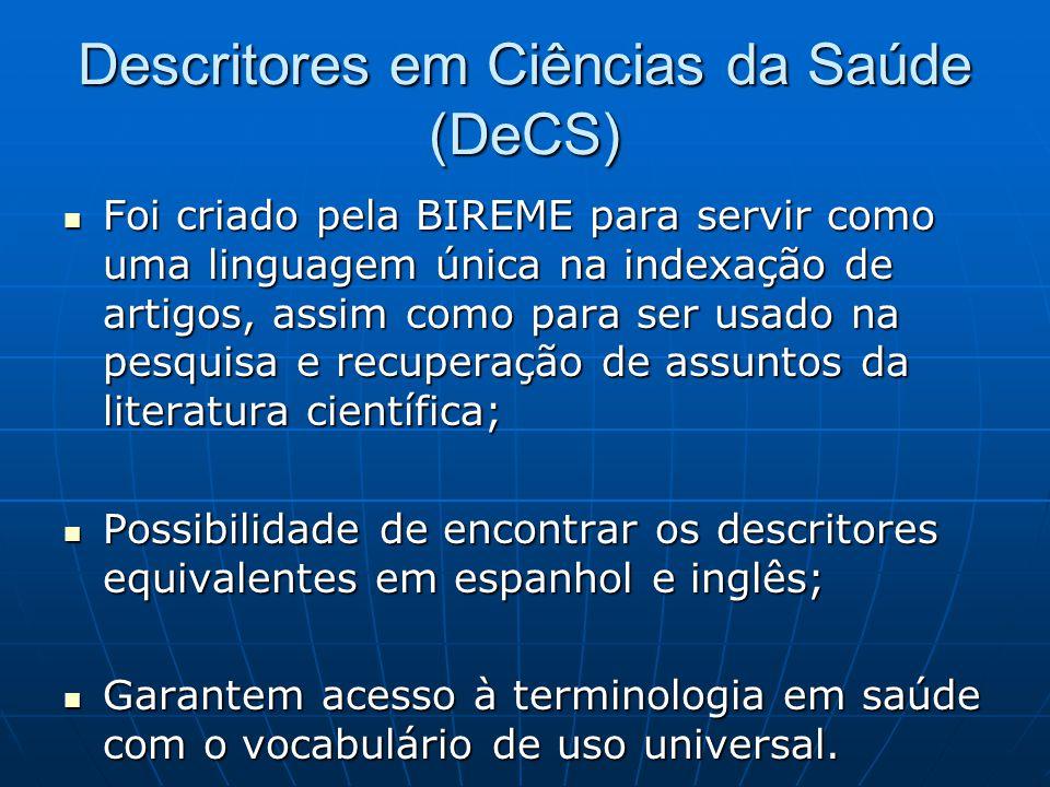 Descritores em Ciências da Saúde (DeCS)