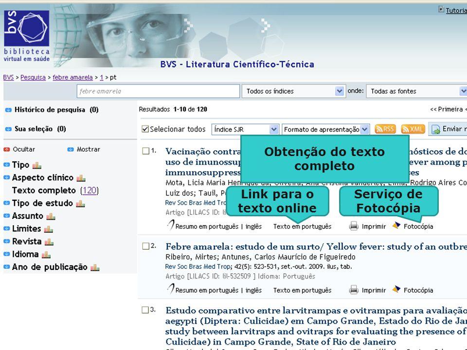 Obtenção do texto completo Link para o texto online