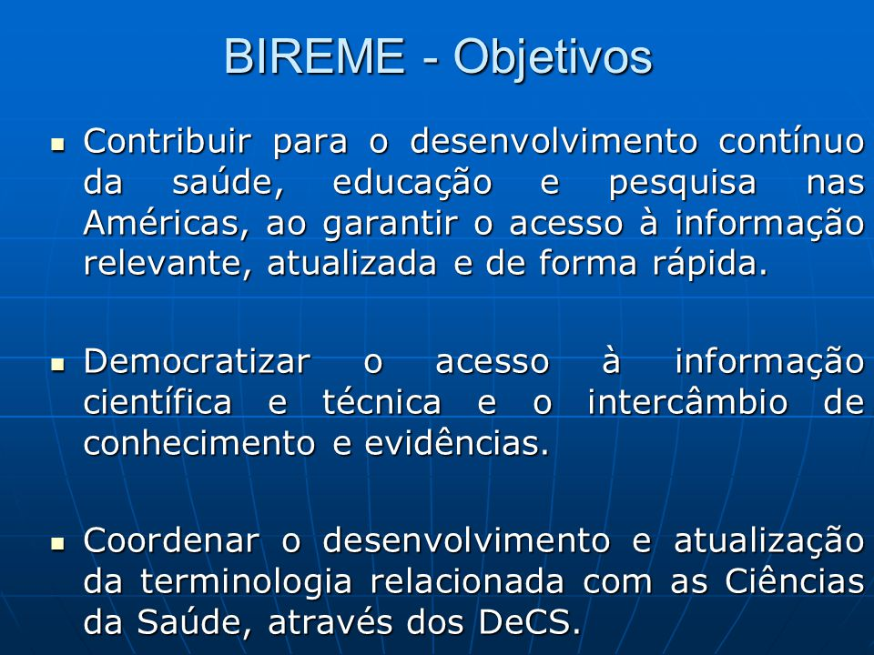 BIREME - Objetivos