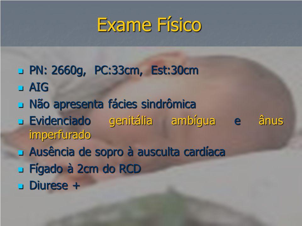 Exame Físico PN: 2660g, PC:33cm, Est:30cm AIG