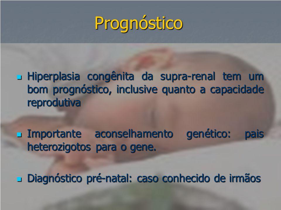 Prognóstico Hiperplasia congênita da supra-renal tem um bom prognóstico, inclusive quanto a capacidade reprodutiva.