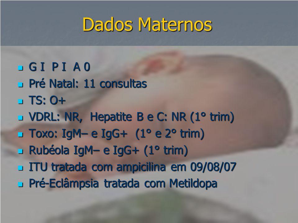 Dados Maternos G I P I A 0 Pré Natal: 11 consultas TS: O+