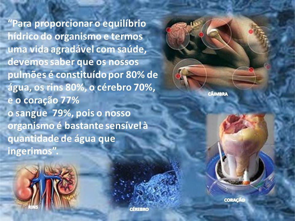Para proporcionar o equilíbrio hídrico do organismo e termos uma vida agradável com saúde, devemos saber que os nossos pulmões é constituído por 80% de água, os rins 80%, o cérebro 70%, e o coração 77%